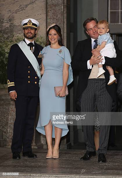 Princess Sofia of Sweden Prince Carl Philip of Sweden and Christopher O'Neill with his son Prince Nicolas of Sweden are seen after the christening of...