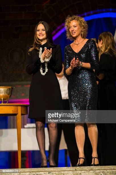 Princess Sofia of Sweden the Duchess of Varmland, and Sophiahemmet director Johanna Adami during the Sophiahemmet college graduation ceremony at...