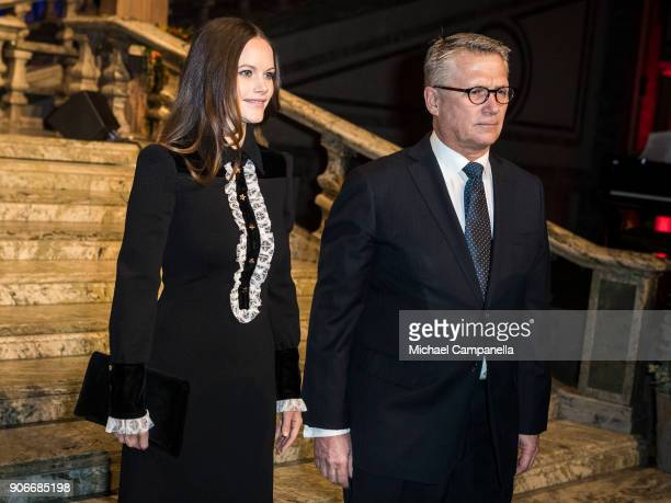 Princess Sofia of Sweden, the Duchess of Varmland, and the Sophiahemmet chairman of the board Lars Kihlstrom Burenstam Linder arrive at the...