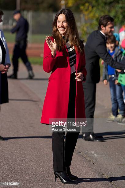 Princess Sofia of Sweden visits the company Dalform AB during the first day of a two day trip to Dalarna on October 5 2015 in Sater Sweden