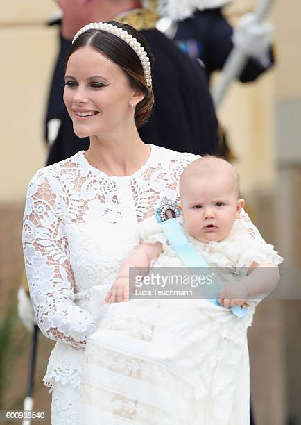 Princess Sofia of Sweden with her son Prince Alexander as they attend the christening of Prince Alexander of Sweden at Drottningholm Palace Chapel on...