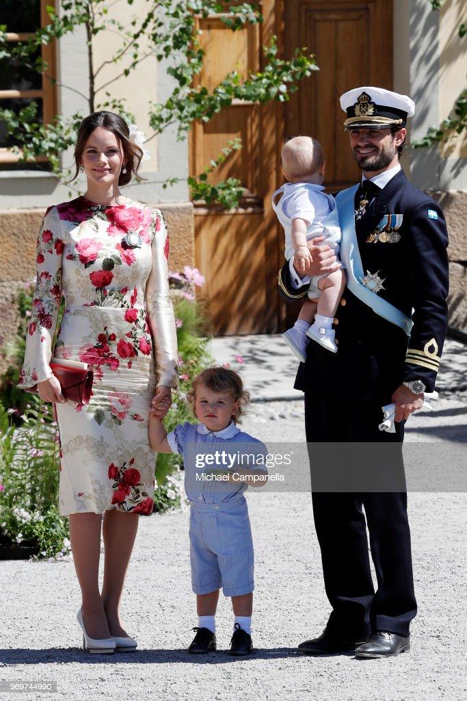 Princess Sofia of Sweden,Prince Alexander of Sweden and Prince Carl Phillip of Sweden holding Prince Gabriel of Sweden pose after the christening of Princess Adrienne of Sweden at Drottningholm Palace Chapel on June 8, 2018 in Stockholm, Sweden.