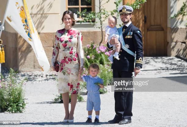 Princess Sofia of SwedenPrince Alexander of Sweden and Prince Carl Phillip of Sweden holding Prince Gabriel of Sweden attend the christening of...