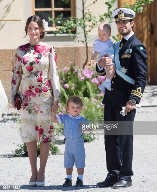 Princess Sofia of Sweden,Prince Alexander of Sweden and Prince Carl Phillip of Sweden holding Prince Gabriel of Sweden attend the christening of...