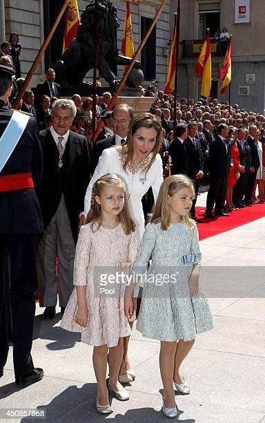 Princess Sofia, Princess Leonor, Princess of Asturias, and Queen Letizia of Spain at the Carrera de San Jerónimo, after the ceremony of proclamation...