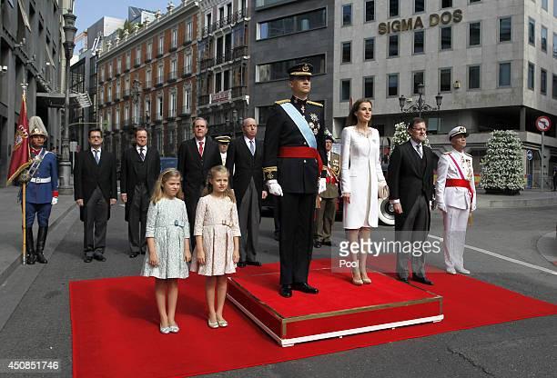 Princess Sofia Princess Leonor Princess of Asturias King Felipe VI of Spain Queen Letizia of Spain Prime Minister Mariano Rajoy and General Admiral...