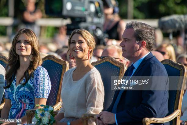 Princess Sofia, Princess Madeleine, and Chris O'Neill attend The Crown Princess Victoria of Sweden's 42nd birthday celebrations on July 14, 2019 at...