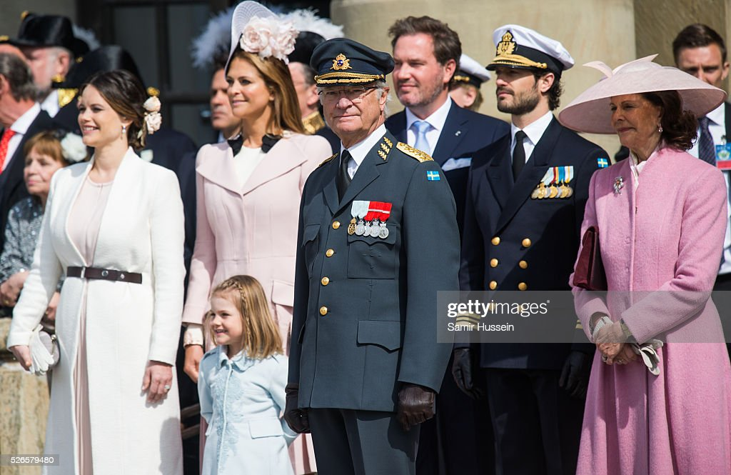 L-R) Princess Sofia, Princess Madeleine of Sweden, Princess Estelle of Sweden, King Carl Gustaf, Christopher O'Neill, Prince Carl Philip of Sweden and Queen Silvia of Sweden, attend the celebrations of the Swedish Armed Forces for the 70th birthday of King Carl Gustaf of Sweden on April 30, 2016 in Stockholm, Sweden.