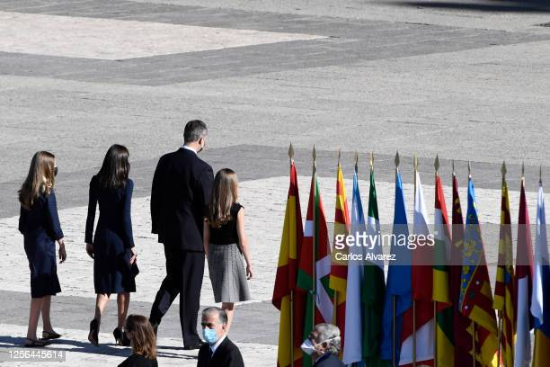 Princess Sofia Queen Letizia of Spain King Felipe of Spain and Crown Princess Leonor leave after the State tribute to the victims of the coronavirus...