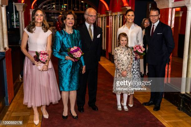 Princess Sofia, Queen Silvia, King Carl XVI Gustaf, Princess Estelle, Crown Princess Victoria, and Prince Daniel of Sweden attend a concert hosted by...