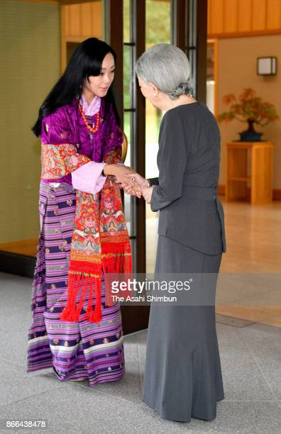 Princess Sonam Dechan Wangchuck of Bhutan is welcomed by Empress Michiko prior to their meeting at the Imperial Palace on October 24 2017 in Tokyo...