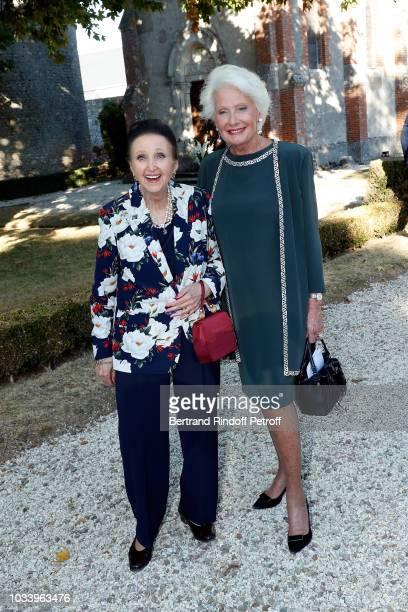 Princess Sophie de Wurtemberg and Monique Raimond attend Wedding of Helene de Yougoslavia and Stanislas Fougeron at Chateau de Villeprevost on...