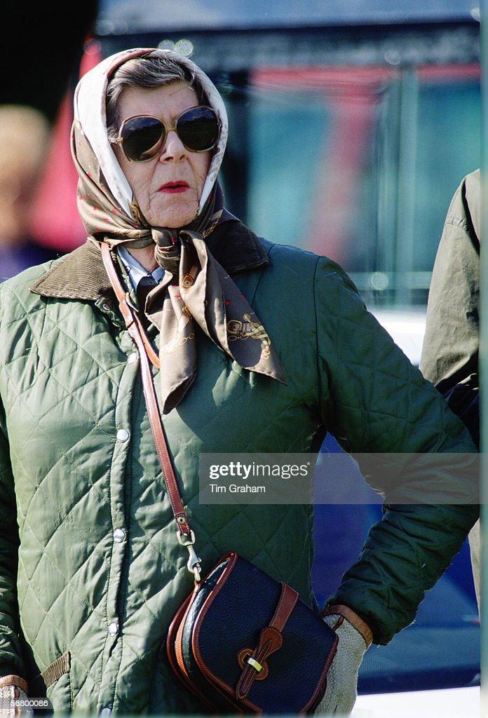 Princess Sophie of Hanover, Prince Philip's sister watching him compete at the Royal Windsor Horse Show in the 1980s.