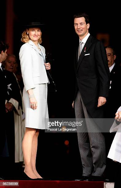 Princess Sophie of Liechtenstein and Prince Alois of Liechtenstein leave Monaco Cathedral as part of Monaco's National Day celebrations which this...