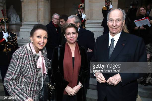 Princess Sophie of Wurttemberg Grand Duchess Maria Theresa of Luxembourg and Prince Karim Aga Khan attend the Installation of Frederic Mitterrand at...