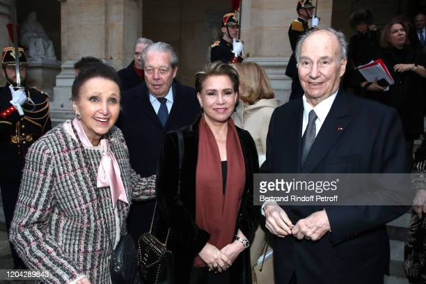 Princess Sophie of Wurttemberg Prince Michel d'Orleans Grand Duchess Maria Theresa of Luxembourg and Prince Karim Aga Khan attend the Installation of...