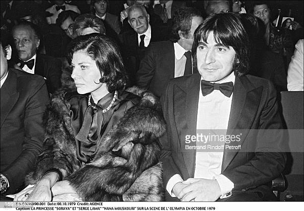 Princess Soraya Esfandiari and Serge Lama attend the concert of Nana Mouskouri at the Olympia music hall in Paris in 1979