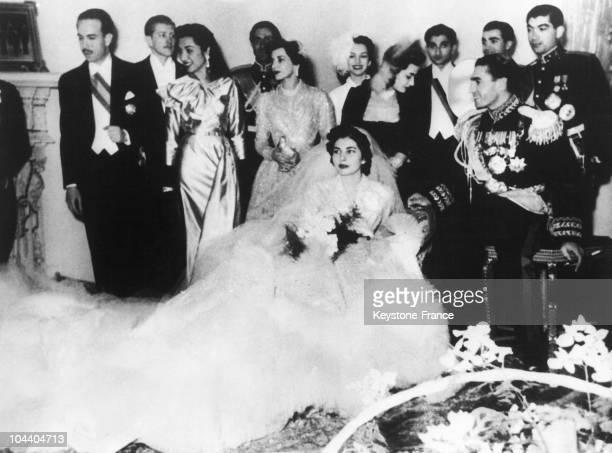 Princess SORAYA ESFANDIARI on her wedding with Shah MuhammadReza PAHLAVI of Iran in Tehran Royal Palace From left to right Ahmed FAHLBAD the American...