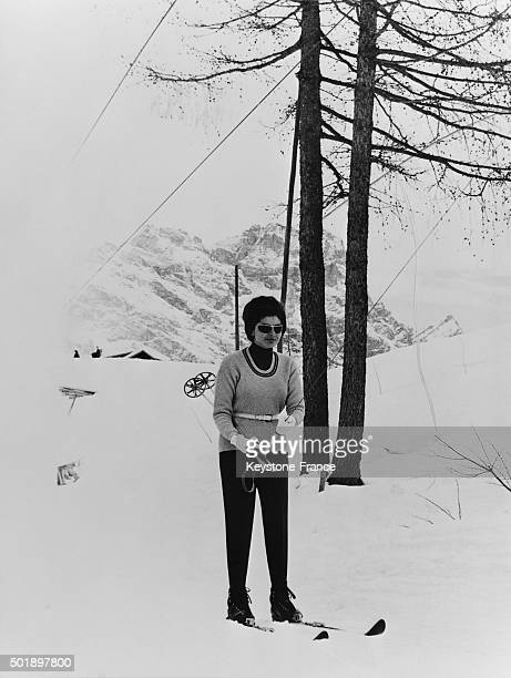 Princess Soraya Spending Vacation and Skiing In the Italian Ski Resort Of Cortina D'Ampezzo Italy on February 11 1963