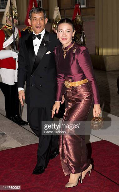 Princess Srirasm of Thailand and the Crown Prince of Thailand attend a dinner for foreign Sovereigns to commemorate the Diamond Jubilee at Buckingham...
