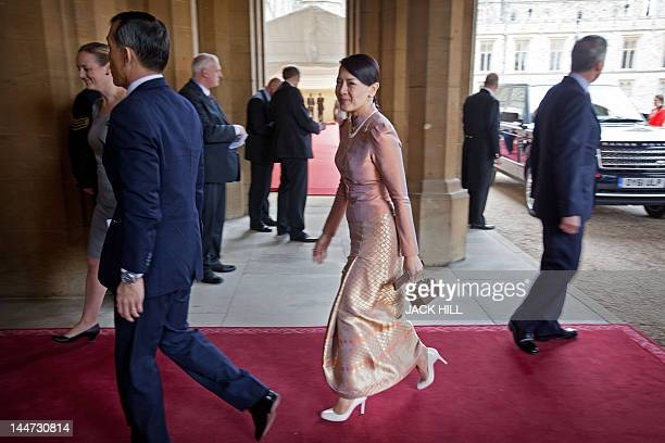 Princess Srirasm of Thailand arrives at Windsor Castle west of London on May 18 for a Sovereign's Jubilee Lunch hosted by Britain's Queen Elizabeth...