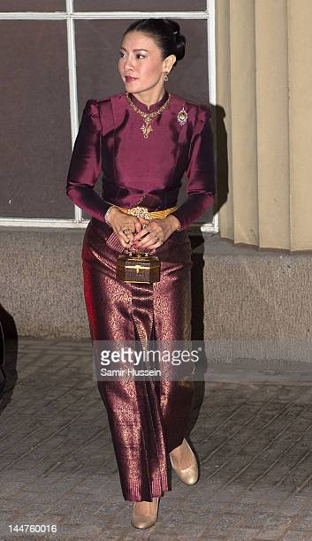 Princess Srirasm of Thailand attend a dinner for foreign Sovereigns to commemorate the Diamond Jubilee at Buckingham Palace on May 18 2012 in London...
