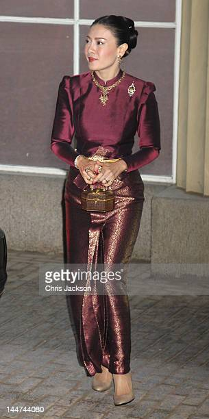 Princess Srirasm of Thailand attends a dinner for foreign Sovereigns to commemorate the Diamond Jubilee at Buckingham Palace on May 18 2012 in London...