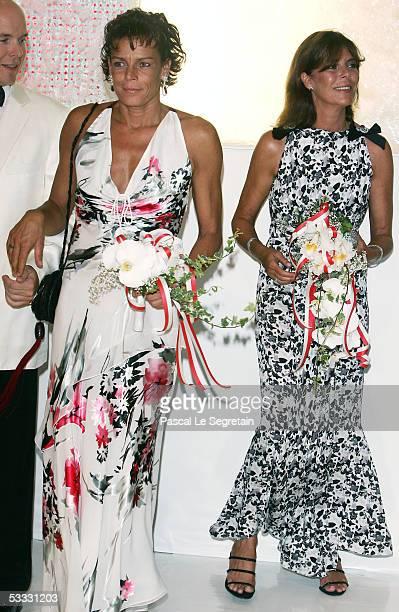 Princess Stepanie of Monaco and sister Princess Caroline of Monaco attends the 57th Red Cross Ball on August 5 2005 in Monte Carlo Monaco