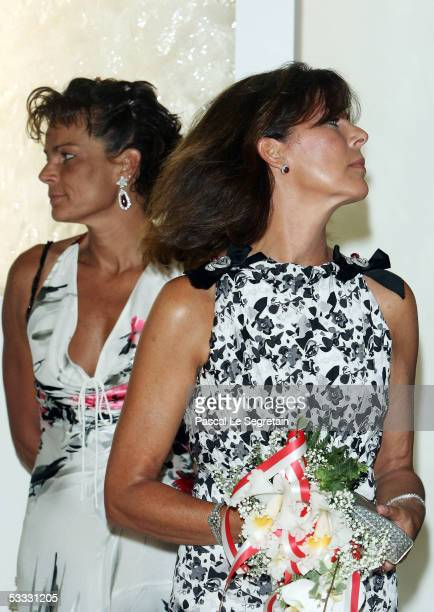 Princess Stepanie of Monaco poses with her sister Princess Caroline of Monaco at the 57th Red Cross Ball on August 5 2005 in Monte Carlo Monaco
