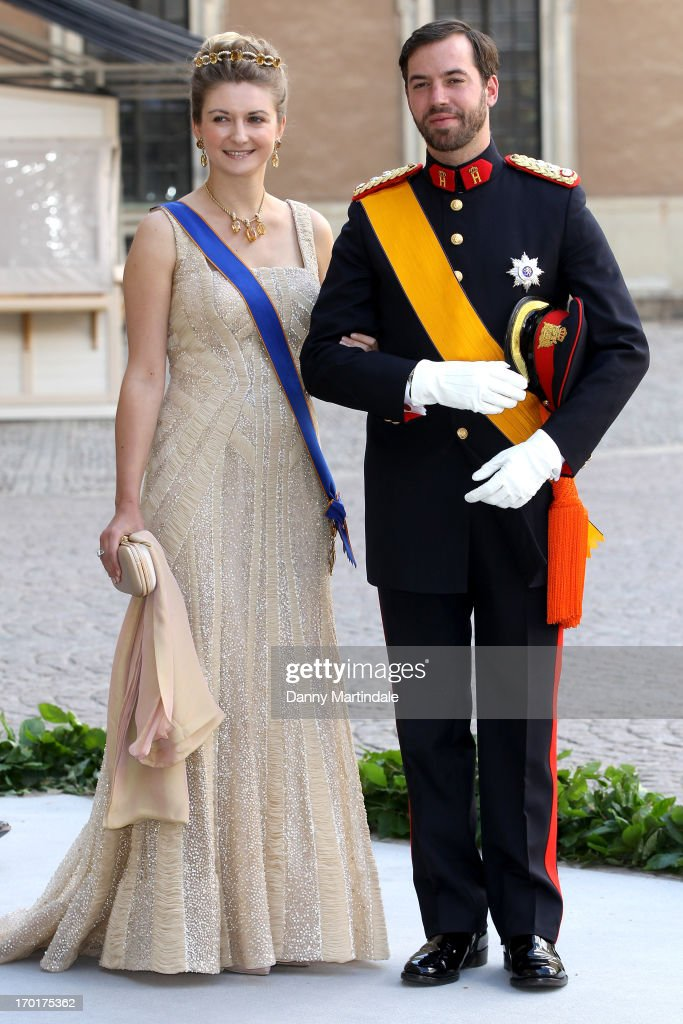 Princess Stephanie and Prince Guillaume of Luxembourg attend the wedding of Princess Madeleine of Sweden and Christopher O'Neill hosted by King Carl Gustaf XIV and Queen Silvia at The Royal Palace on June 8, 2013 in Stockholm, Sweden.