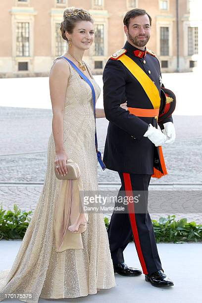 Princess Stephanie and Prince Guillaume of Luxembourg attend the wedding of Princess Madeleine of Sweden and Christopher O'Neill hosted by King Carl...