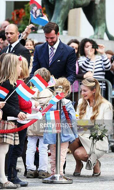 Princess Stephanie of Luxembourg and Crown Prince Guillaume of Luxembourg are seen leaving the civil ceremony for the wedding of Prince Guillaume Of...