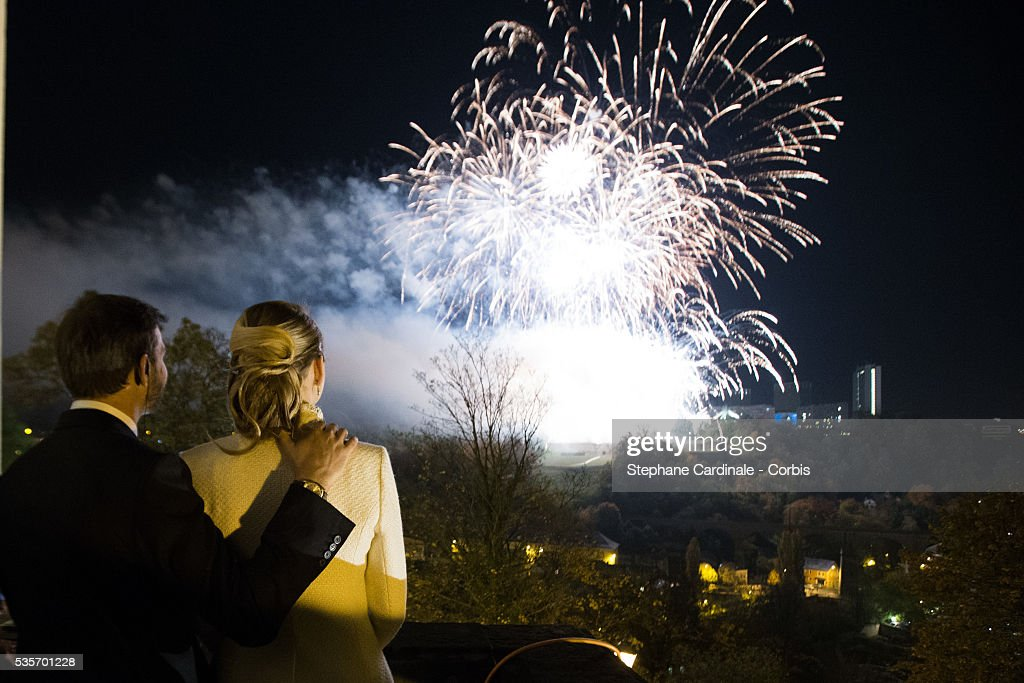 Princess Stephanie of Luxembourg and Crown Prince Guillaume of Luxembourg look the fireworks after their wedding ceremony at the Cathedral of our Lady of Luxembourg, in Luxembourg.