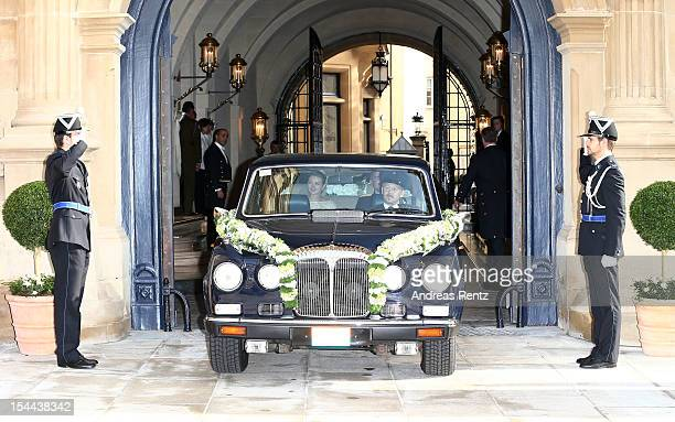 Princess Stephanie of Luxembourg and her brother Count Jehan de Lannoy depart from the GrandDucal Palace for the wedding ceremony of Prince Guillaume...