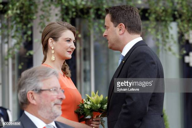 Princess Stephanie of Luxembourg and Luxembourg prime minister Xavier Bettel speaks together as they arrive at Luxembourg Philarmonie hall for...