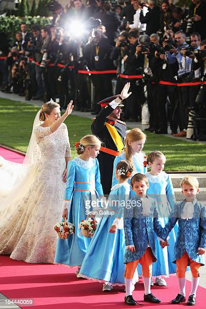 Princess Stephanie of Luxembourg and Prince Guillaume of Luxembourg depart the church after the wedding ceremony of Prince Guillaume Of Luxembourg...