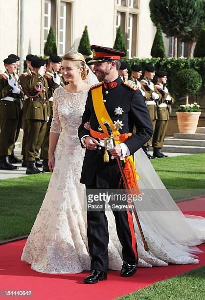 Princess Stephanie of Luxembourg and Prince Guillaume of Luxembourg emerge from the Cathedral following the wedding ceremony of Prince Guillaume Of...