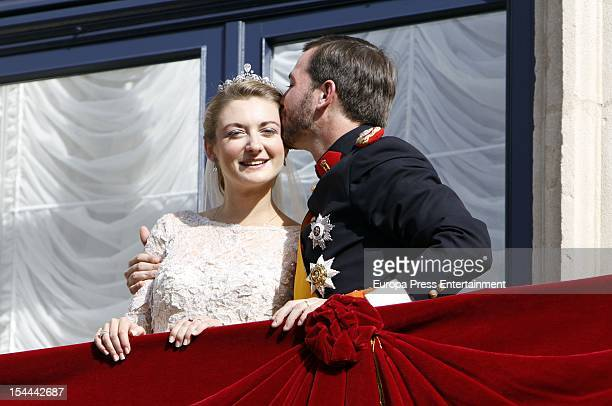 Princess Stephanie of Luxembourg and Prince Guillaume of Luxembourg kiss on the balcony of the GrandDucal Palace after their wedding ceremony at the...