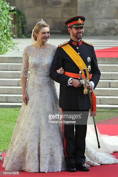 Princess Stephanie of Luxembourg and Prince Guillaume of Luxembourg leave the church after the wedding ceremony of Prince Guillaume Of Luxembourg and...