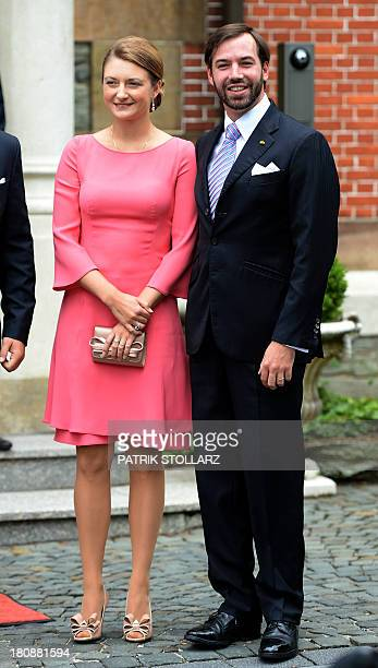 Princess Stephanie of Luxembourg and Prince Guillaume of Luxembourg pose upon arrival at the Civil Wedding Ceremony of their respectively...