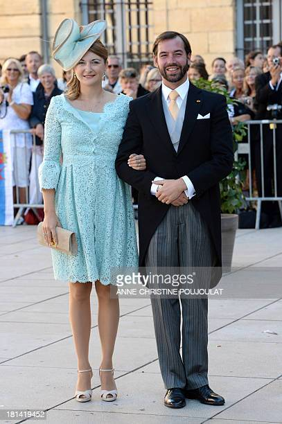 Princess Stephanie of Luxembourg and Prince Guillaume of Luxembourg pose upon arrival at the Religious Wedding Ceremony of their respectively...