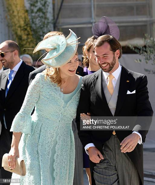Princess Stephanie of Luxembourg and Prince Guillaume of Luxembourg leave the church after the Wedding Ceremony of their respectively brotherinlaw...