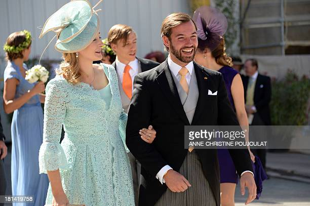 Princess Stephanie of Luxembourg and Prince Guillaume of Luxembourg pose for photographers after the Wedding Ceremony of Prince Felix of Luxembourg...