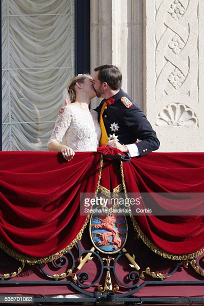 Princess Stephanie of Luxembourg and Prince Guillaume of Luxembourg kiss on the balcony of the Grand-Ducal Palace following the wedding ceremony of...