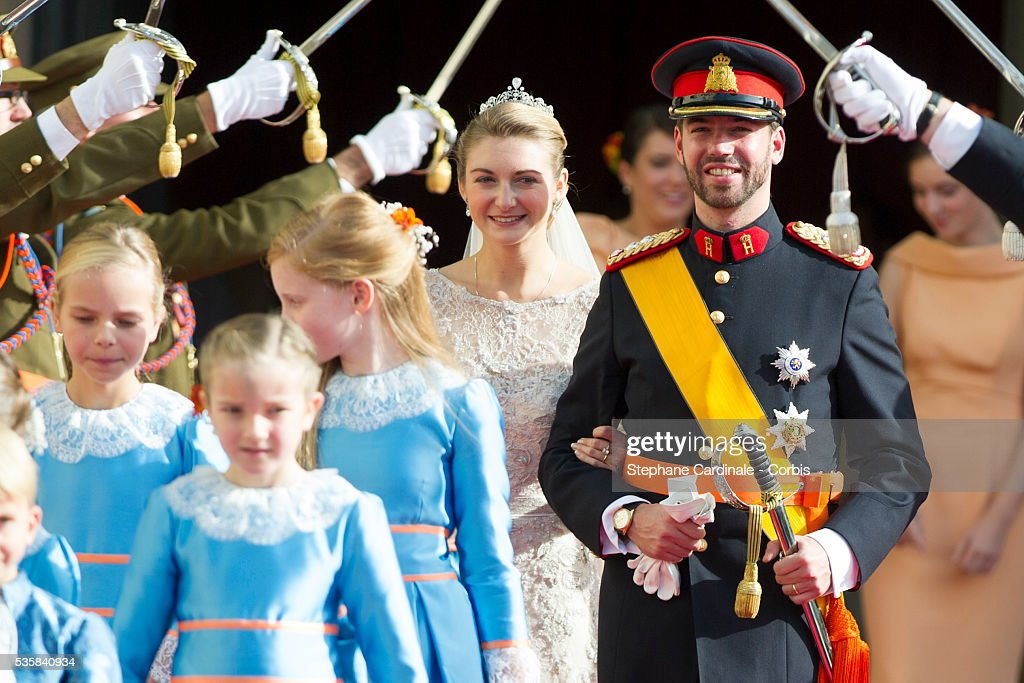 Princess Stephanie of Luxembourg and Prince Guillaume of Luxembourg emerge from the Cathedral following the wedding ceremony of Prince Guillaume of Luxembourg and Princess Stephanie of Luxembourg at the Cathedral of our Lady of Luxembourg, in Luxembourg.