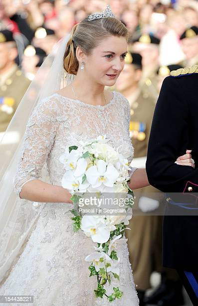 Princess Stephanie of Luxembourg arrives at the wedding ceremony of Prince Guillaume Of Luxembourg and Princess Stephanie of Luxembourg at the...