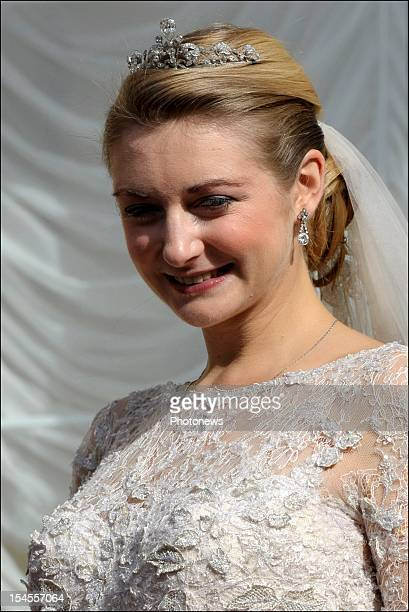 Princess Stephanie of Luxembourg on the balcony of the GrandDucal Palace after the wedding ceremony of Prince Guillaume Of Luxembourg and Stephanie...