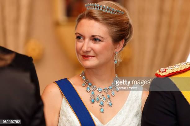 Princess Stephanie of Luxembourg poses for photographers before the official dinner for National Day at the ducal palace on June 23 2018 in...