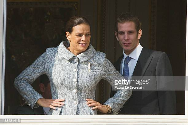 Princess Stephanie of Monaco and Andrea Casiraghi attend the National Day Parade as part of Monaco National Day Celebrations on November 19 2011 in...