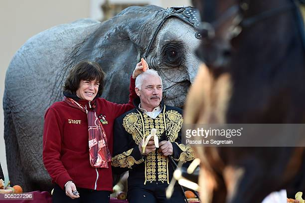 Princess Stephanie of Monaco and Cassely attend the parade of the 40th International Circus Festival on January 16, 2016 in Monaco.